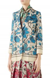 Gucci Watercolor Floral Print Silk Jacket   Nordstrom at Nordstrom