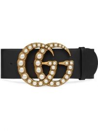 Gucci Wide Leather Belt With Pearl Double G - Farfetch at Farfetch