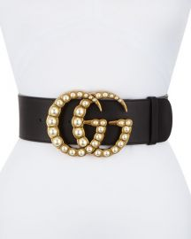 Gucci Wide Leather Belt w  Pearlescent Beads  Black Cream at Neiman Marcus
