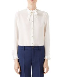 Gucci tie neck blouse at Bergdorf Goodman
