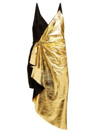 Gucic Pleated metallic-leather and suede mini dress at Matches