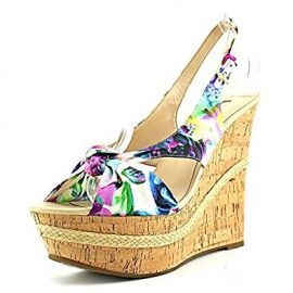 Guess Delilan Women Open Toe Canvas Multi Color Wedge Heel at Amazon