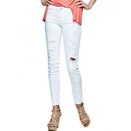 Guess Power Skinny Jeans in White Destroy Wash at Guess