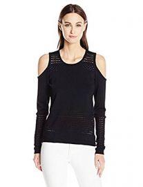 Guess Women s Long Sleeve Casandra Mesh Stripe Pullover at Amazon