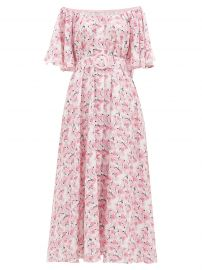Gul Hurgel Floral off-the-shoulder linen dress at Matches