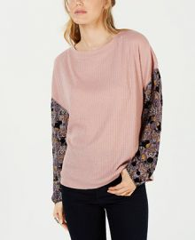 Gypsies   Moondust Juniors  Printed-Sleeve Waffle-Knit Top Juniors -  Tops - Macy s at Macys