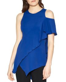 HALSTON HERITAGE Ruffle Cold-Shoulder Top blue at Bloomingdales