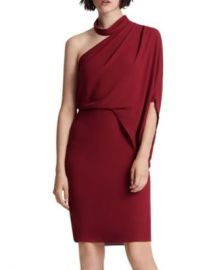 HALSTON Asymmetric Draped Mock-Neck Dress Women - Bloomingdale s at Bloomingdales