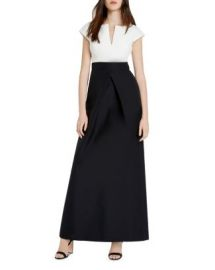 HALSTON HERITAGE Faille Color Block Gown at Bloomingdales
