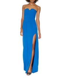 HALSTON HERITAGE Notched Strapless Gown at Bloomingdales