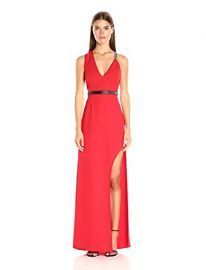 HALSTON HERITAGE Women s Sleeveless V Neck Gown with Multi Chain Strap at Amazon