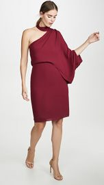HALSTON Wrap Neck Asymmetrical Drape Dress at Shopbop