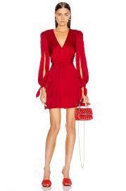 HANEY Joplin V Neck Dress in Red   FWRD at Forward