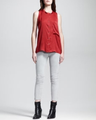HELMUT Helmut Lang Button-Front Racerback Top and Cropped Stitched Skinny Jeans at Neiman Marcus