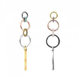 HOLD EARRINGS IN GOLD VERMEIL AND DARK SILVER WITH RINGS at Tous