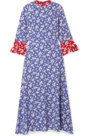 HVN - Ashley floral-print silk crepe de chine midi dress at Net A Porter