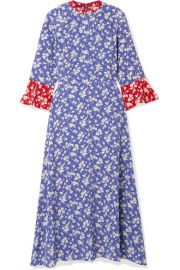 HVN - Ashley floral-print silk crepe de chine midi dress at Net A Porter