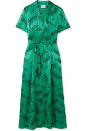 HVN - Long Maria printed silk-satin midi dress at Net A Porter