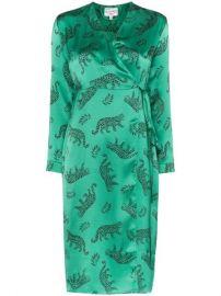HVN Leopard Silk Wrap Dress - Farfetch at Farfetch