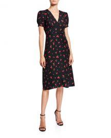 HVN Paula Deep V-Neck Dress at Neiman Marcus