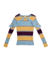 Habitual Knit Stripe Ruffle Trim Sweater  Size 7-14 at Neiman Marcus