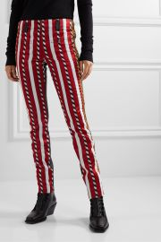 Haider Ackermann - Paneled embroidered jacquard and leather skinny pants at Net A Porter