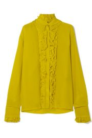 Haider Ackermann - Pleated ruffled silk crepe de chine blouse at Net A Porter