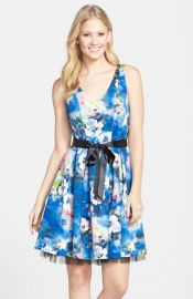 Hailey by Adrianna Papell Print Knit Fit andamp Flare Dress at Nordstrom