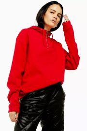 Half zip hoodie at Topshop