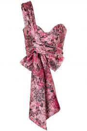 Halle one-shoulder bow-detailed floral-jacquard bustier top at The Outnet