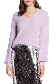 Halogen   Fuzzy V-Neck Sweater  Regular  Petite  amp  Plus Size    Nordstrom at Nordstrom