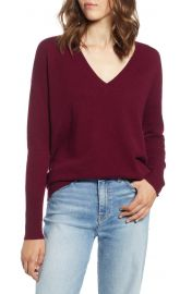 Halogen   Relaxed V-Neck Cashmere Sweater  Regular  amp  Petite at Nordstrom