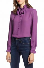 Halogen   Ruffle Neck Blouse  Regular  Petite  amp  Plus Size at Nordstrom