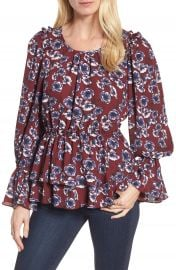 Halogen   Floral Ruffle Blouse at Nordstrom
