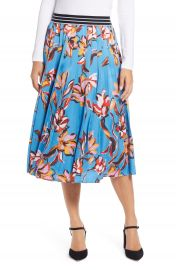 Halogen   Printed Pleated Skirt  Regular  Petite  amp  Plus Size at Nordstrom