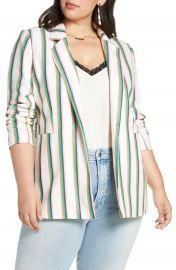 Halogen   Ruched Sleeve Stripe Blazer  Plus Size    Nordstrom at Nordstrom