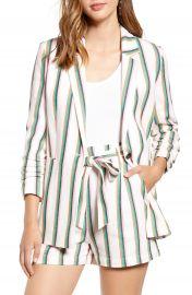 Halogen   Stripe Ruched Sleeve Cotton Blend Blazer  Regular  amp  Petite    Nordstrom at Nordstrom