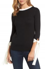 Halogen   Tie Sleeve Crewneck Sweater  Regular  amp  Petite at Nordstrom