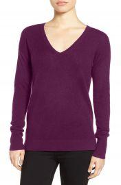 Halogen   V-Neck Cashmere Sweater  Regular   Petite at Nordstrom