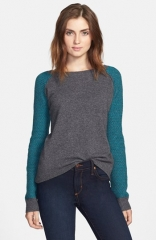 Halogen Contrast Sleeve Cashmere Sweater at Nordstrom