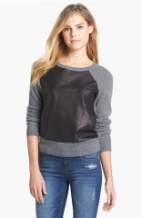 Halogen Leather andamp Cashmere Sweater at Nordstrom