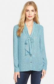 Halogen Scarf Tie Blouse in Teal at Nordstrom