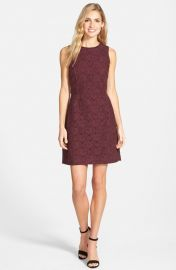 Halogenand174 Lace Fit andamp Flare Dress in Burgundy at Nordstrom