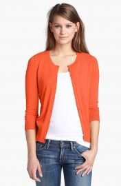 Halogenand174 Three Quarter Sleeve Cardigan in orange at Nordstrom