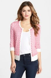 Halogenand174 Three Quarter Sleeve Cardigan in pink at Nordstrom