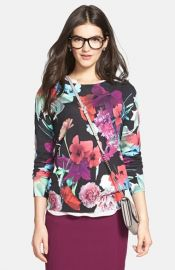 Halogenand174 and39Photo Floraland39 Cotton Sweater at Nordstrom