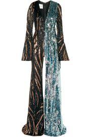 Halpern - Tiger-print sequined tulle jumpsuit at Net A Porter