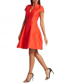 Halston - Cap-Sleeve Silk-Blend Faille Flare Dress at Saks Fifth Avenue