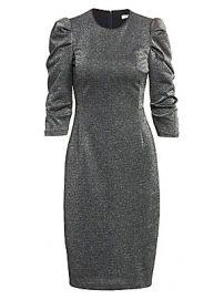 Halston - Puff-Sleeve Metallic Knit Dress at Saks Fifth Avenue