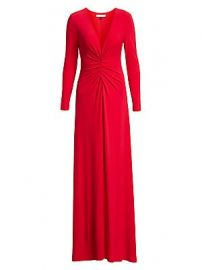 Halston - V-Neck Ruched Jersey Gown at Saks Fifth Avenue